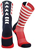 TCK Sports USA American Flag Stars and Stripes Crew Socks, Large