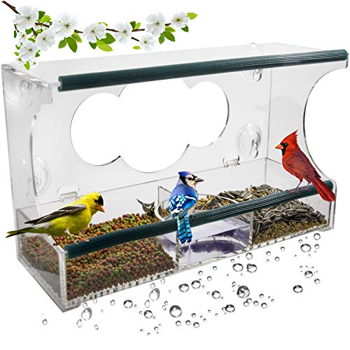 Birdious Deluxe Window Bird Feeder with Strong Suction Cups: Enjoy Clear View Outside Wild Birds. Large See Through Birdfeeder with Removable Seed Tray. Best Gift Idea (For Gift Christmas Parents Ideas)