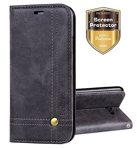 7 2017 / J7 V / J7 Prime / J7 Perx / J7 Sky Pro / Galaxy Halo Case, Ferlinso Elegant Retro Leather with [SCREEN PROTECTOR] Cover Stand Magnetic Closure Case Cover-Gray (Leather Telephone)
