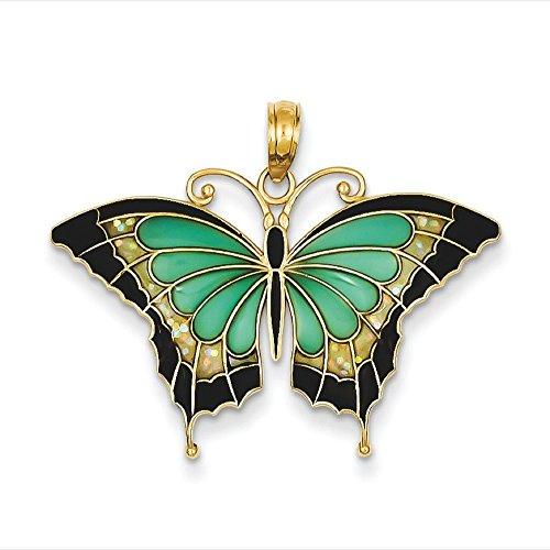 Aqua Verre 14 Carats Pendentif en forme de Papillon à ailes JewelryWeb