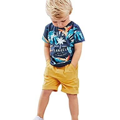 e48ac2695ba00 Amazon.com: Transser- Toddler Baby Boys Beachwear Bathing Suit Kids Outfits  Set - Leaf Print T-Shirt Tops + Shorts Pants: Clothing