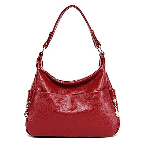 Red Leather Shoulder Bag (Lustear Leather Purse Shoulder Bag Hobo Style Handbags for Ladies (Red))