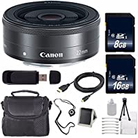 Canon EF-M 22mm f/2 STM Lens + 16GB SDHC Class 10 Memory Card + 8GB SDHC Class 10 Memory Card 6AVE Bundle 11 (International Verion) No Warranty