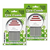 Head Lice Treatment, Egg & Nit Removal Terminator Comb By Arudge – Stainless Steel – Spiral Grooved Teeth – Ergonomic Design With Anti Slip Bands - 2 PACK