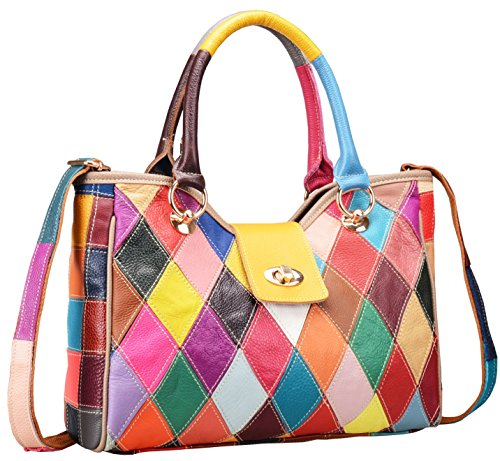 - On Clearance Heshe Womens Multi-color Shoulder Bag Hobo Tote Handbag Cross Body Purse (Colorful-2B4008)