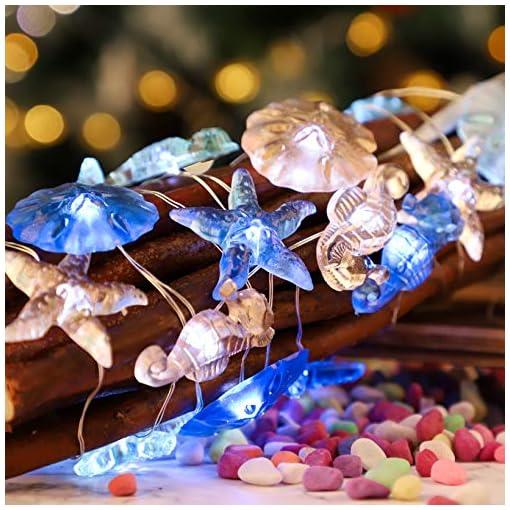Beach Themed Christmas Ornaments Impress Life Nautical Theme Decorative String Lights, Under The Sea Sand Dollars Seahorse Beach Lights Battery&USB Plug… beach themed christmas ornaments