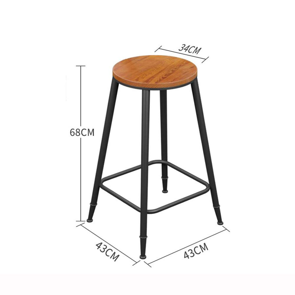 Wooden 68CM QIDI Bar Stool Counter Chairs Wood Bar Stool Footrest Metal Frame Nice Seat Cushion for Breakfast Kitchen Bar Cafe (color   with Cushion, Size   68CM)