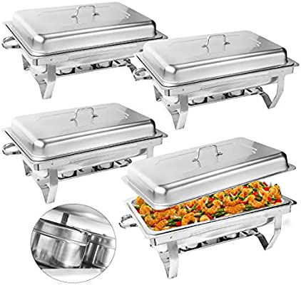 4 Pakcs 8 Qt.Stainless Steel Rectangular Buffet Trays Chafer Chafing Dish Warmer