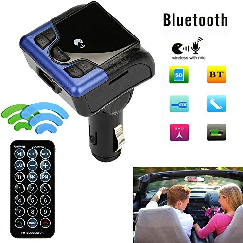 Car Bluetooth Wireless FM Transmitter AUX Radio Adapter MP3 Handsfree Call Kit - 506bt car Bluetooth mp3 | Full Duplex Sound Quality Mini Size, Portable and Easily to Carry in Your Pocket Blue