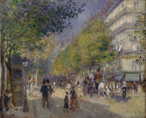 JH Lacrocon Pierre-Auguste Renoir - The Grands Boulevards Canvas Wall Art Rolled 120X100 cm (Approx. 48X40 inch) - City Scapes Paintings Reproductions Prints