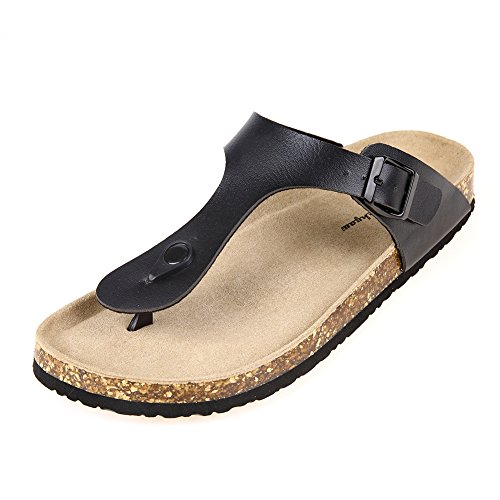 Pinpochyaw Gizeh Sandals Mens Leather Thong Flip-Flops Cork Sandals (9 B(M) US, Black)