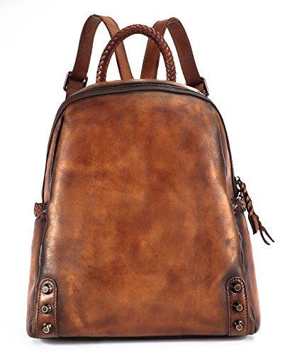 Sophmoda Vintage Style Genuine Cow Leather Backpack Women's Shoulder Bag-A327 (Brown) by Sophmoda