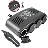MaxTeck 5 in 1 Car Charger - 4 port 12V DC Cigarette Lighter Auto Socket DuplicatorPlus USB Port