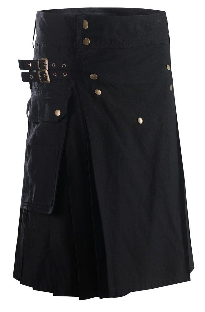 Foucome Black Adjustable Fit Cargo Sport Utility Kilt for Men