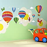 Removable Creative 3D Hot air Balloon Aircraft and Smile Clouds Wall Decals for Kids Bedroom Bathroom Art Decoration Sticker