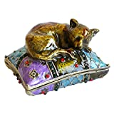 Apropos Vintage Style Hand-Painted Cat Sleeping On Pillow Trinket Box