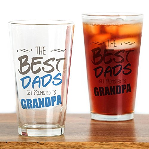CafePress Great Dads Get Promoted To Grandpa Pint Glass, 16 oz. Drinking Glass
