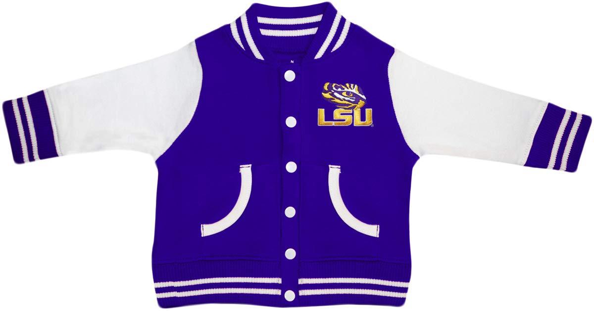 Louisiana State University LSU Tiger Eye Varsity Jacket Purple by Creative Knitwear