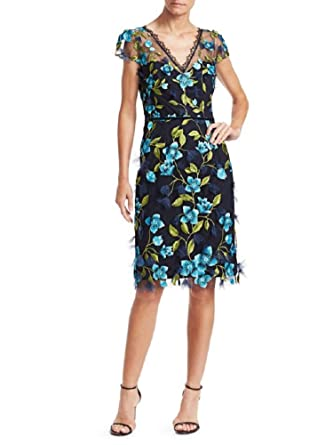 9bc481f8618 Marchesa Notte Women's Cap Sleeve 3D Floral Cocktail Dress 2 Navy Blue at  Amazon Women's Clothing store: