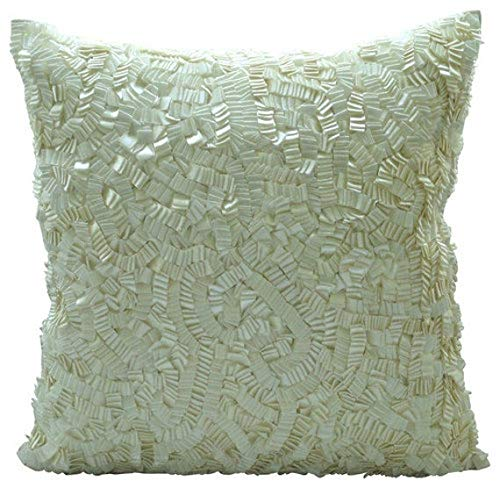 The HomeCentric Decorative Ivory Accent Pillow Covers 16x16 inch, Silk Throw Pillows for Couch, Solid Color, Ribbon Embroidery, Modern Cushion Cover - Ivory Elegance