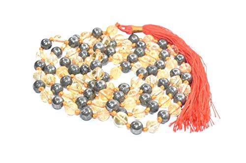 - Mala Golden pyrite +Citrine Mala Necklace Original 8MM- 108 Beads Necklace for Unisex Natural Chakra Metaphysical Healing Crystal Gemstone Reiki Healing Meditation, Protection, Energy