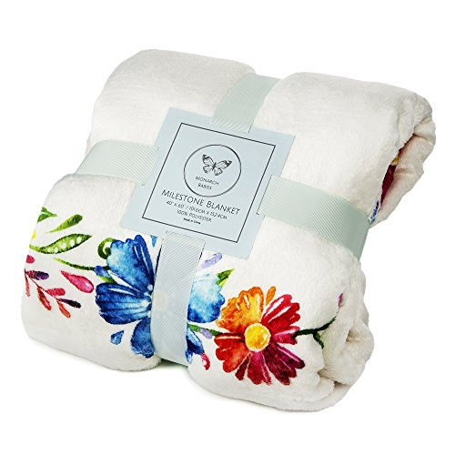 """Monarch Babies   Monthly Milestone Blanket - Floral 60"""" x 40"""" Thick Ultra-Soft Fleece Backdrop Baby Photography Prop for Newborn Boys & Girls by Monarch Babies (Image #7)"""