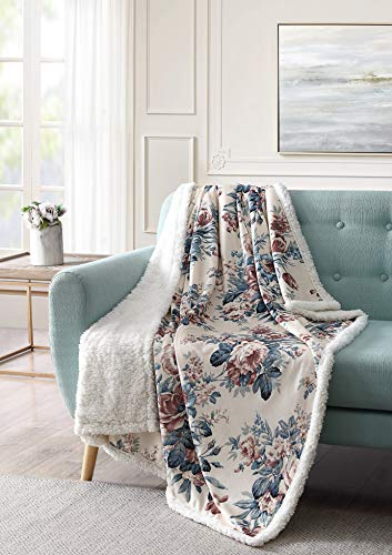 Bourina Sherpa Fleece Throw Blanket Printed Super Soft Fuzzy Reversible Plush Blankets for Bed Sofa, 50