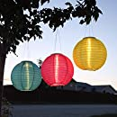 """3 Solar Hanging Nylon Lanterns, Tropic Pink, Blue, and Yellow, 12"""", Triple LEDs, Auto Timer, Water Resistant, Rechargeable Batteries Included"""