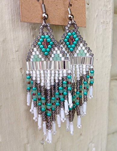 Silver Smoky Iris Purple & Teal Native American Inspired Beaded Earrings (Chandelier Silver Sarah)