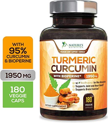 Turmeric Curcumin Highest Potency 95% Curcuminoids 1950mg with Bioperine Black Pepper for Best Absorption, Made in USA, Best Vegan Joint Pain Relief Turmeric Pills by Natures Nutrition - 180 Capsules
