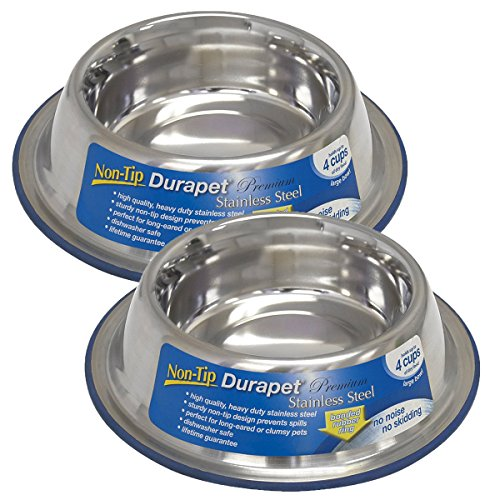 OurPets DuraPet Premium No-Tip Stainless Steel Pet Bowls, Large (2 (Heavyweight Stainless Steel Bowl)