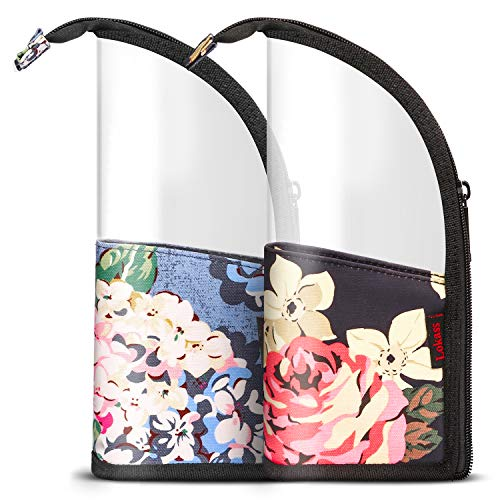 NiceEbag 2 in 1 Makeup Brush Holder Organizer Bag Stand-Up Make-up Brush Cup Half-Clear Travel Cosmetic Toiletry Pouch for Woman Girls, Peony&Orchid (Best Travel Size Makeup Brushes)