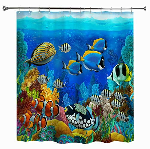 HIYOO Bathroom Decorative Polyester Fabric Waterproof Shower Curtain, Ocean Sea Underwater Seabed Coral Theme Design, High-Definition Image, with Hooks 60