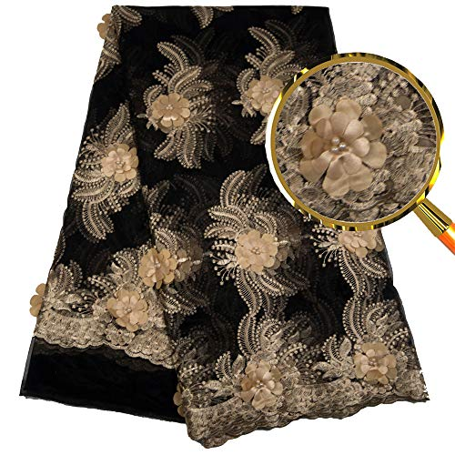 MLace African Lace Fabric 5yards Embroidered 3D Lace Stones Beads African Laces Nigeria Laces Black Gold Net Tulle French Lace for Wedding Party Dress