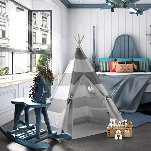 (UKadou Kids Teepee Tent for Girls Boys, Children Play Tent Playhouse Indoor, Tee Pee Kids Tent, Stripe Canvas Teepee Tent for Baby Toddlers, Indian Tipi Tent for Kids (Grey & White Striped))