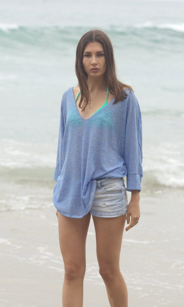 French Blue V-Neck Kimono Sweater, Beach Sweater, Batwing Sweater, Bamboo Knit Top, Ocean Sweater, Sweet Blue Sweater. Size M-XL
