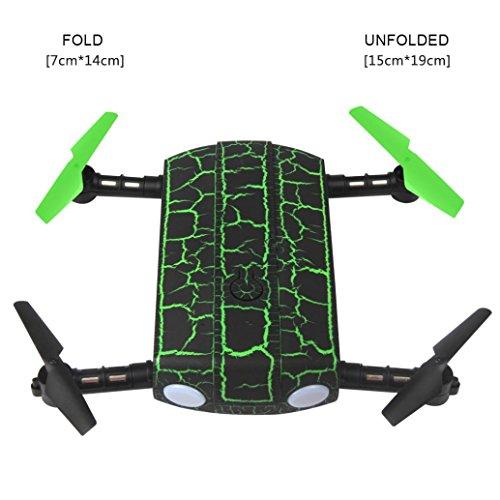 New G-sensor Folding Pocket Drone 0.3MP Camera WIFI FPV MINI Selfie RC Quadcopter, Leewa (Green) by Leewa