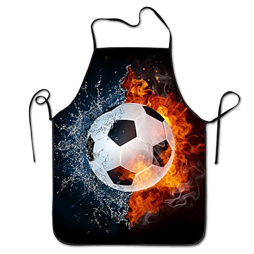 Soccer Ball On Fire Water Adjustable Apron For Grilling Bacon Chef Waitress Great Gift For Wife Ladies Men Boyfriend