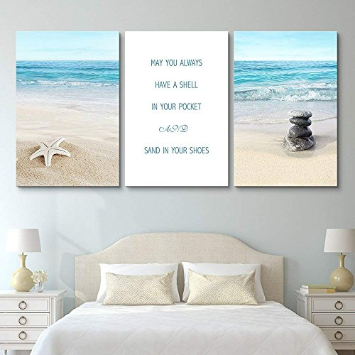 3 Panel Tropical Beach Landscape with Inspirational Quotes x 3 Panels