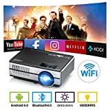 Wireless WiFi Bluetooth Pico Mini Projector 2800 Lumen Portable LED LCD Projector Android 6.0 Video Proyector Airplay Miracast Support HD 1080P with HDMI USB VGA AV Speaker Home Theater Outdoor Movie