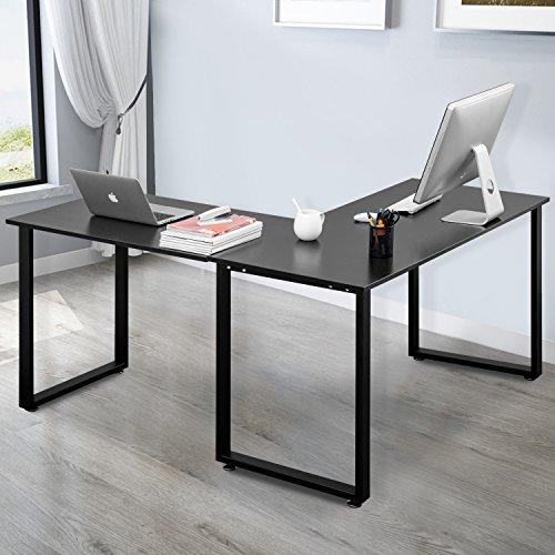 Merax L-Shaped Office Workstation Computer Desk Corner Desk Home Office Wood Laptop Table Study Desk (Black)