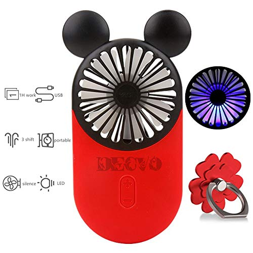 (DECVO Cute Personal Mini Fan, Handheld & Portable USB Rechargeable Fan with Beautiful LED Light, 3 Adjustable Speeds, Portable Holder, Perfect for Indoor Or Outdoor Activities, Cute Mouse (Red))