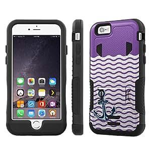 NakedShield Iphone 6 Plus (5.5) (Nautical Anchor - Purple) Armor Tough ShockProof Phone KickStand Case