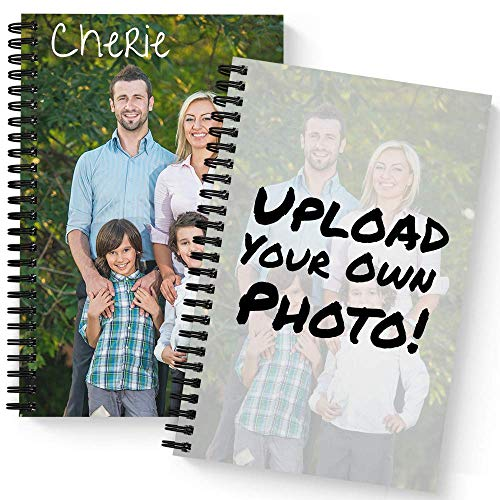 """Create Your Own Photo Upload Personalized Notebook/Journal, Laminated Soft Cover, 120 Checklist pages, lay flat wire-o spiral. Size: 5.5"""" x 8.5"""". Made in the ()"""