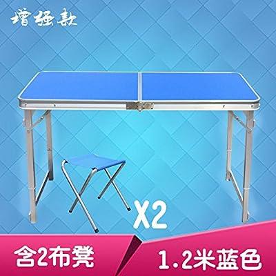 Xing Lin Table Pliable Petite Table Pliable Portable Facile À Manger En Plein Air Accueil Table Balcon Simple Table De Pique-Nique Portable, L'Amélioration De 1,2 Mètres 2 Tabouret Tissu Bleu