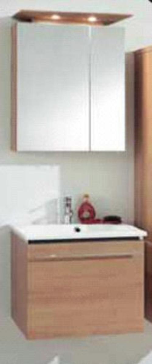 Badmöbel Set Marlin City 03 60cm Eckig Badmöbel Spiegelschrank mit Halogenbeleuchtung, Front: Nuss, CITY03