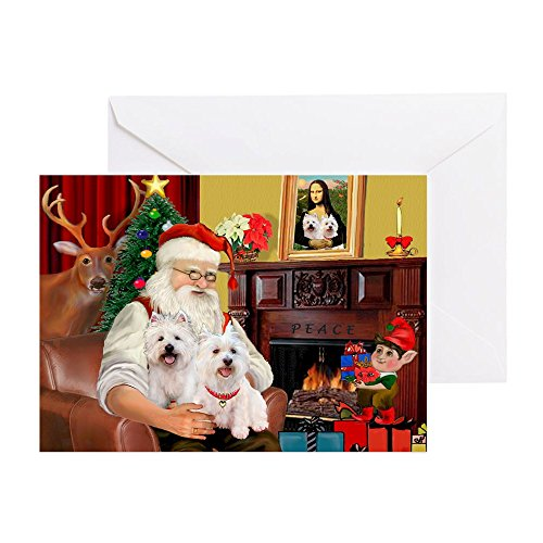 (CafePress Santa's Westie Pair Greeting Card (20-pack), Note Card with Blank Inside, Birthday Card Matte)