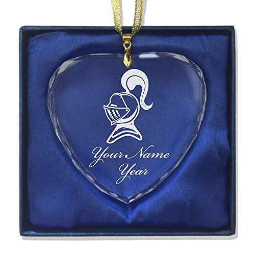 Orn Crystal (Heart Crystal Christmas Ornament - Knight - Personalized Engraving Included)