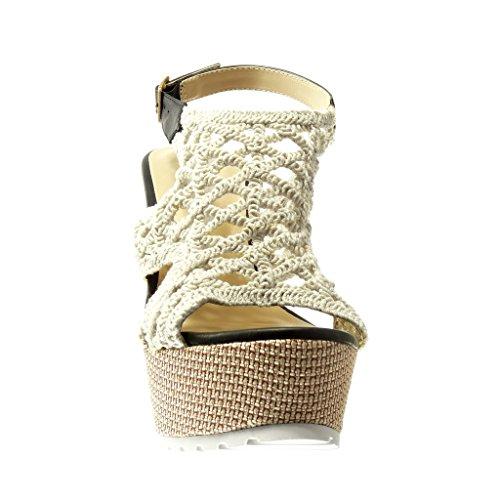 Angkorly - damen Schuhe Sandalen Mule - Plateauschuhe - häkel - bestickt - Geflochten Keilabsatz high heel 13 CM - Schwarz