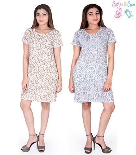 2 Organic Womens T-shirt - Sofie & Sam Organic Cotton 2pack Combo Medium Size Women's Long Tee/T-Shirt/Beachwear/Pool wear/Dress, Cartoon & Burn Out